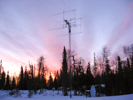 EME array on a tower at sunrise in Nikiski, Alaska, by Ed KL7UW.