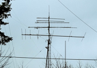Jerry W7IEW: 6m 7-el KLM, 2m Cushcraft, MQ2 9wave 432, 220mhz 14-el homebrew, pair 1296 phased loopers, 20yo 2m copper J pole on top