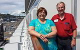 Larry N0LL and Ann at Pier 91 in Seattle as they embark on cruise to Alaska
