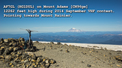 Peter AF7GL (HG1DUL) on Mt Adams, CN96ge, at 12262' during 2014 Sept VHF contest.