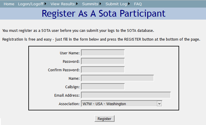 Screen to Register as a SOTA Particpant